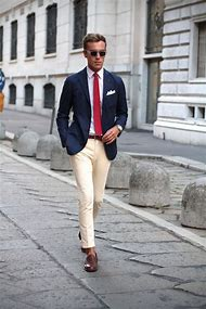 Navy Blue Blazer with White Pants