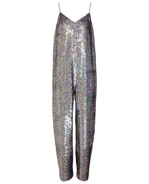 sequins jumpsuit ashish holographic sequin jumpsuit in silver lyst