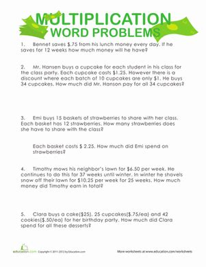 4th grade math worksheet division word problems multiplication word problems money money money