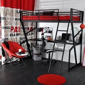 Lit Adolescent Garçon : deco chambre ado avec lit mezzanine ~ Dode.kayakingforconservation.com Idées de Décoration