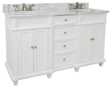 Houzz Bathroom Vanity Knobs by Lyn Design Van094d 60 T Mw White Marble Top Modern