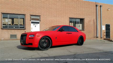 project rolls royce ghost wrapped  matte red  dbx