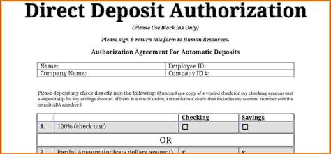direct deposit form template 12 sle direct deposit authorization form lease template