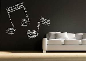 Music note symbols wall sticker quote decal transfer mural for Kitchen cabinets lowes with wall art stencils quotes