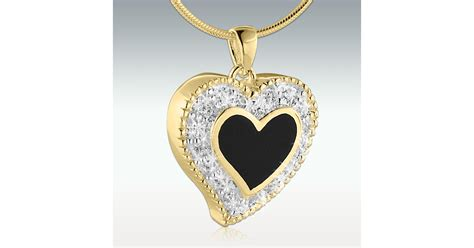 flickering heart solid  gold cremation jewelry engravable