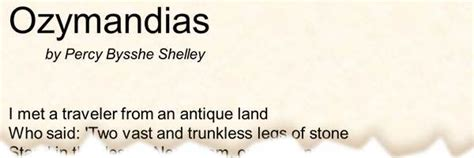poem ozymandias  percy bysshe shelley