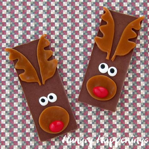 edible christmas craft rudolph the red nose reindeer candy bars hungry happenings