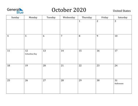 october  calendar united states