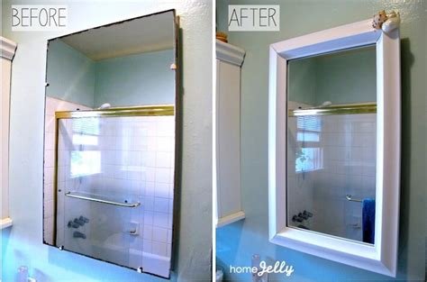 how to frame a medicine cabinet mirror 5 diy tips to a bathroom mini makeover homejelly