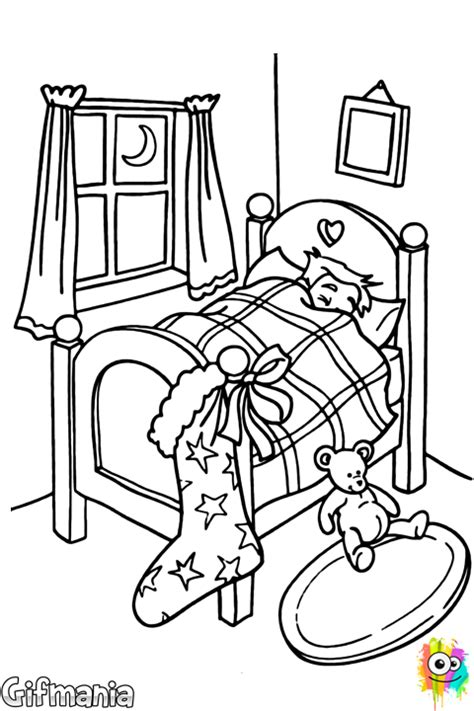 Bedroom On Christmas Eve Coloring Page