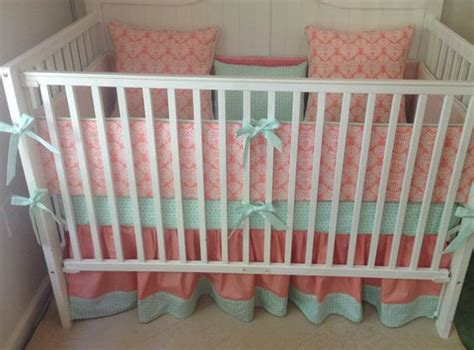 crib bedding set mint and coral damask made to order damasks pillow set and mint