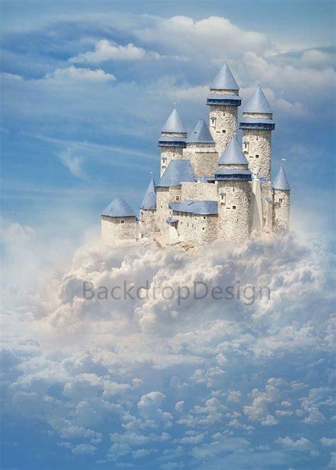 white castle backdrop white cloud blue sky fairy tale