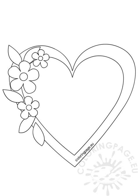 heart frame template coloring page