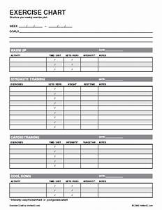 free exercise chart printable exercise chart template With fitness program template free download