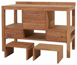 Meuble Bois Brut : meuble en teck de salle de bain sous vasque 120 cm rangement bois brut contemporain console ~ Teatrodelosmanantiales.com Idées de Décoration