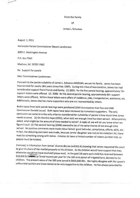 support letters for inmates to be released gallery of sle advance parole letter