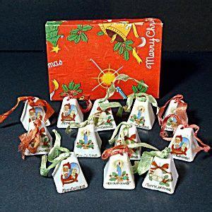 japanese ceramic christmas ornament 1950 box 1950s japan miniature porcelain bells ornaments vintage ornaments