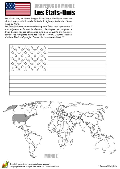 coloriages drapeaux du monde les etats unis
