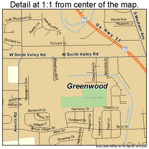 greenwood indiana street map 1829898
