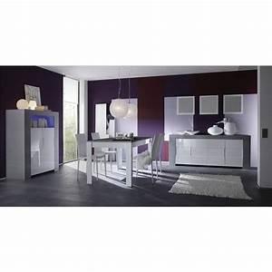 Salle a manger complete blanc laque et bois gris moderne for Deco cuisine avec meuble blanc ceruse salle a manger
