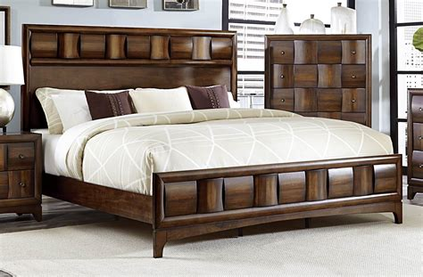 porter warm walnut king panel bed  homelegance