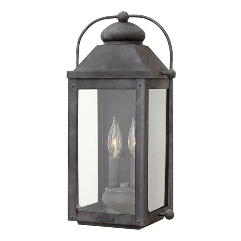 anchorage aged zinc two light outdoor wall sconce hinkley