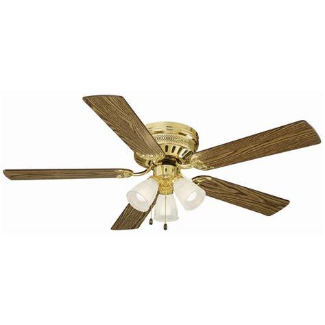 52 hugger ceiling fan design house millbridge 52 in polished brass hugger