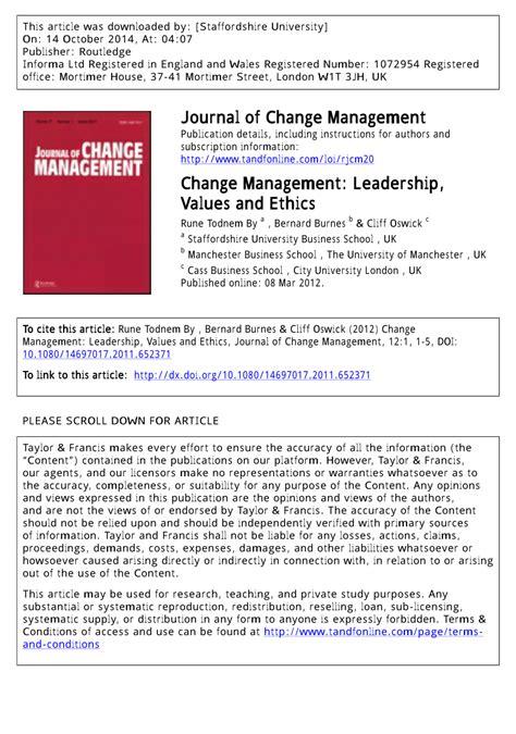 change management leadership values  ethics