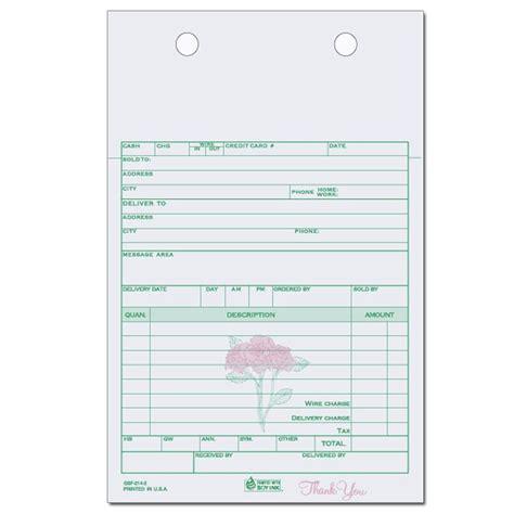 wedding flower order form carbonless form printing