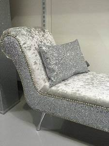 Stunning Double Ended Chaise   Bedroom Seat Silver Glitter