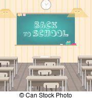 schoolroom empty classroom  wooden furniture desks blackboard vector illustration