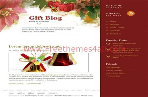 christmas gifts red css html website template freethemes4all