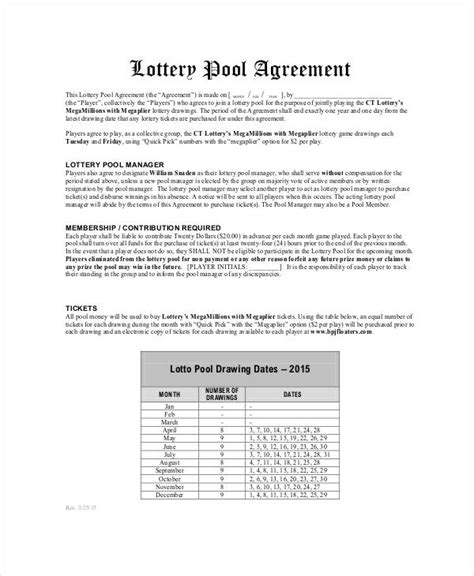Lottery Contract Template by Lottery Pool Agreement Template 6 Free Pdf Documents