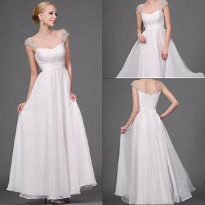 Cheap white a line wedding dress with beaded cap sleeves for Wedding dresses with sleeves cheap
