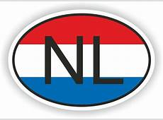 NL NETHERLANDS COUNTRY CODE OVAL WITH FLAG STICKER bumper