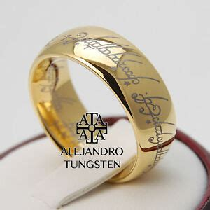 tungsten ring lort 18k gold lord of the ring 8mm hobbit wedding band size 5 14 ebay