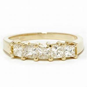 1ct princess cut diamond anniversary 14k yellow gold ring With 14k yellow gold wedding ring