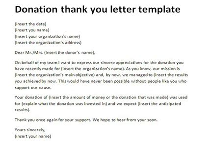 sample donor thank you letter letter thank you for donation