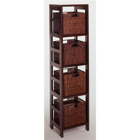 black bookcase with baskets winsome leo 4 section tall storage shelf with 4