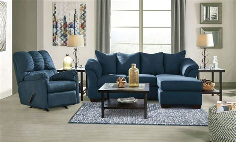 livingroom chaise darcy blue sofa chaise living room set by signature design