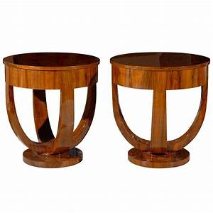 Pair, Of, Round, Art, Deco, Side, Tables