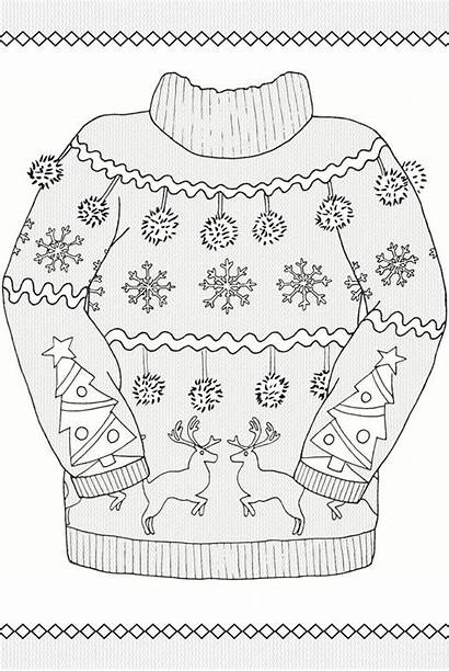 Coloring Pages Ugly Sweater Christmas Adult Dover