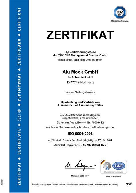 alumock aktuelles iso  zertifikat