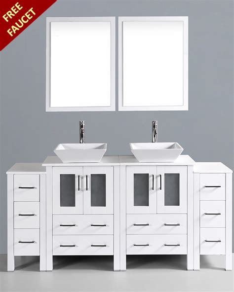square vessel sink vanity white 72in square vessel sink double vanity by bosconi
