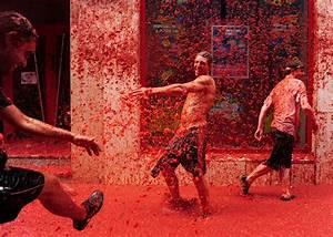 Annual La Tomatina Tomato Fight In Valencia Spain