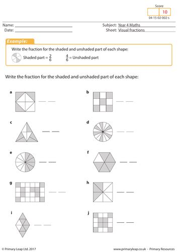 visual fractions  teaching resources