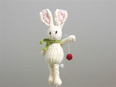 bunny christmas ornament knit animal holiday ornament white