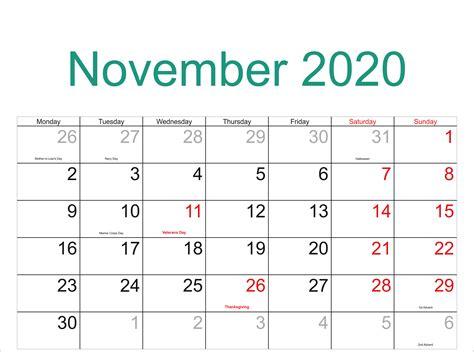 november  calendar  word excel template