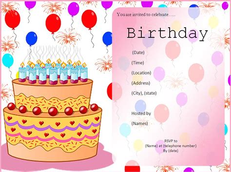 birthday template word invitation templates free word s templates