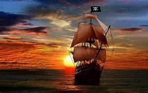 Pirate Ship In The Sunset - Fantasy Art HD Wallpaper